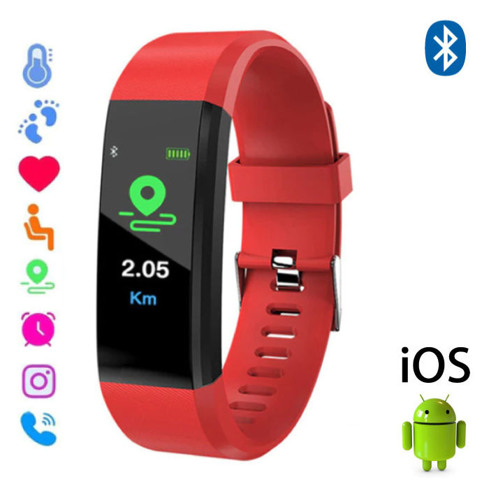 Stuff Certified ® Montre originale pour Android ID115 Plus Smartband Sport Smartwatch Smartphone iOS Rouge Android
