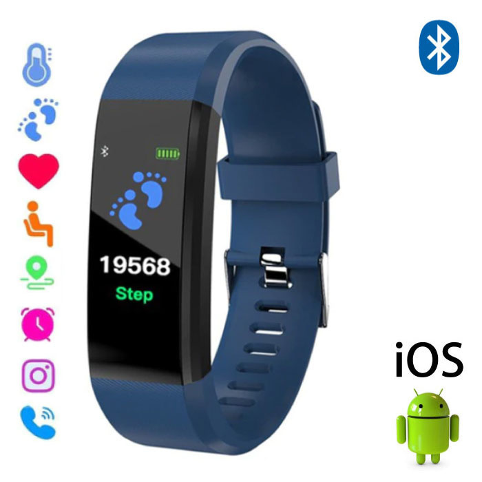 Originele ID115 Plus Smartband Fitness Sport Activity Tracker Smartwatch Smartphone Horloge iOS Android iPhone Samsung Huawei Blauw