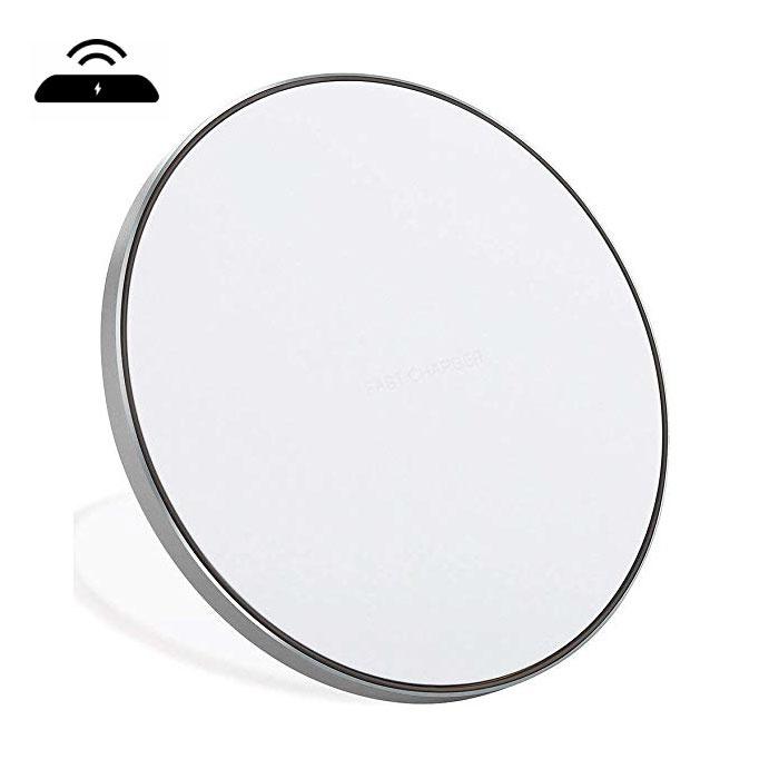 Stuff Certified ® Qi GY-68 Chargeur universel sans fil 9V - Pad de chargement sans fil 1.67A, argent