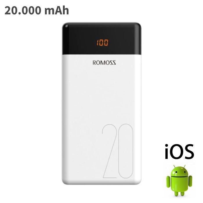 Romoss LT20 Chargeur de batterie d'urgence externe pour chargeur de batterie Powerbank 20 000 mAh, blanc