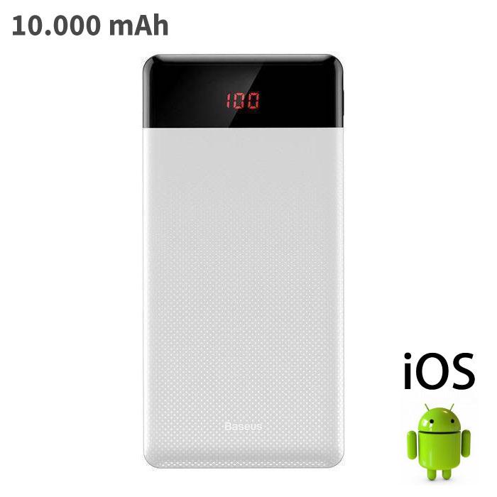 Baseus Chargeur de batterie externe pour chargeur de secours Powerbank, 10 000 mAh, blanc