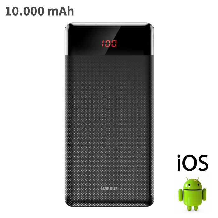 External 10,000mAh Powerbank Emergency Battery Charger Charger Black