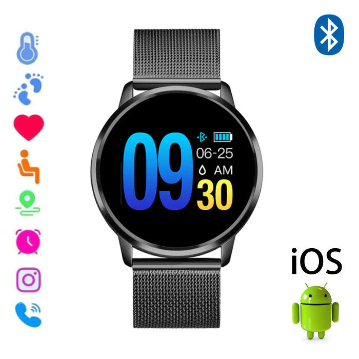 Original Q8 Smartband Fitness Sport Activity Tracker Smartwatch Smartphone Watch OLED iOS Android iPhone Samsung Huawei Black Metal