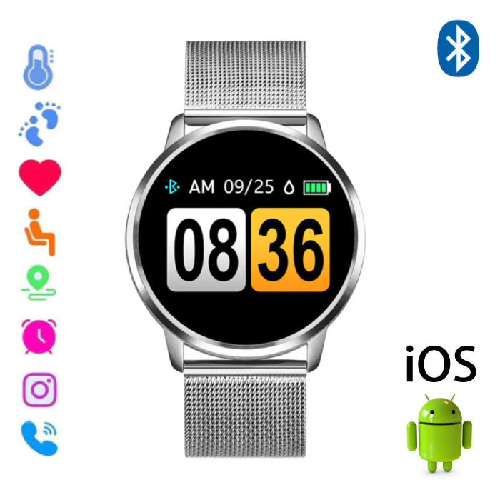 Original Q8 Smartband Sport Smartwatch Smartphone Watch OLED iOS Android Silver Metal