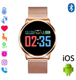 Stuff Certified® Original Q8 Smartband Fitness Sport Activity Tracker Smartwatch Smartphone Watch OLED iOS Android iPhone Samsung Huawei Gold Metal