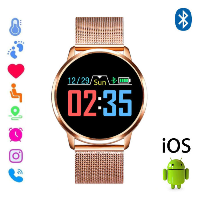 Original Q8 Smartband Fitness Sport Activity Tracker Smartwatch Smartphone Watch OLED iOS Android iPhone Samsung Huawei Gold Metal