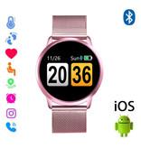Stuff Certified® Originele Q8 Smartband Fitness Sport Activity Tracker Smartwatch Smartphone Horloge OLED iOS Android iPhone Samsung Huawei Roze Metaal