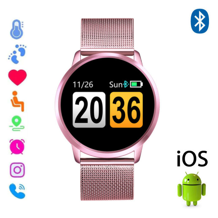 Métal rose Android de Q8 Smartband Sport Smartwatch Smartphone Montre OLED iOS Android