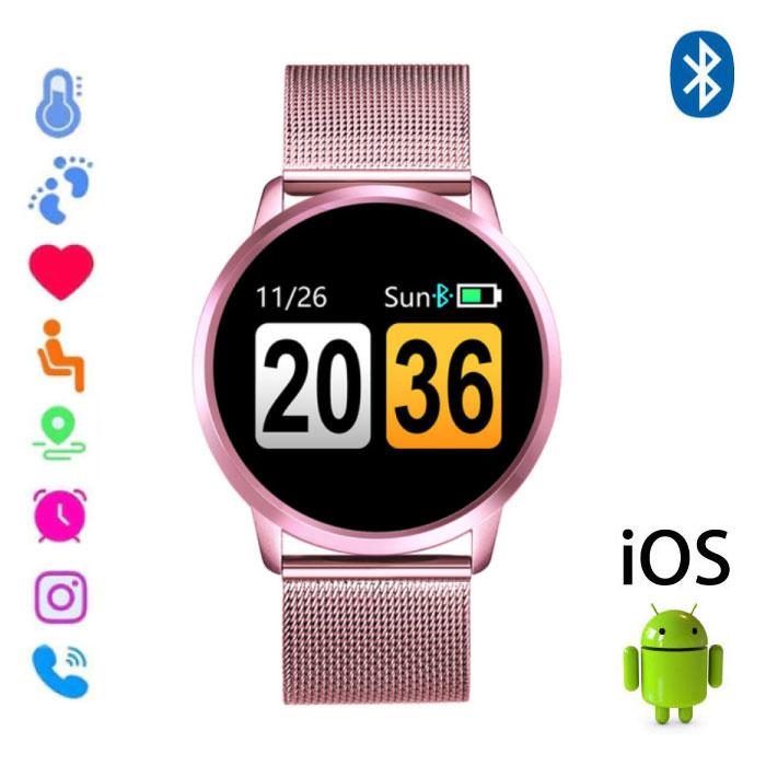 Originele Q8 Smartband Sport Smartwatch Smartphone Horloge OLED iOS Android Roze Metaal