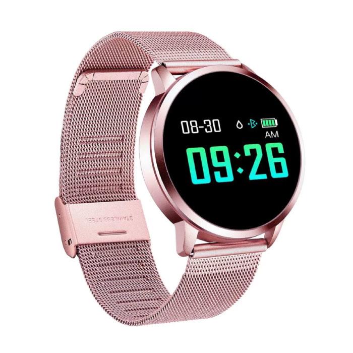 Q8 originale intelligente Band Fitness Sports Tracker Activité Smartwatch Regarder OLED Smartphone iOS iPhone Android Samsung Huawei Rose métallisé