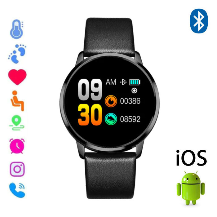 Original Q8 Smartband Sport Smartwatch Smartphone Watch OLED iOS Android Black Leather