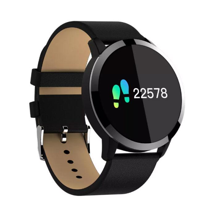Q8 originale intelligente Band Fitness Sports Tracker Activité Smartwatch Regarder OLED Smartphone iOS iPhone Android Samsung Huawei en cuir noir