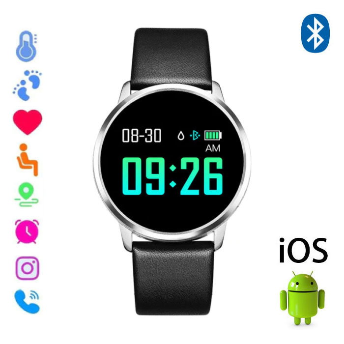 Original Q8 Smartband Sport Smartwatch Smartphone Watch OLED iOS Android Silver Leather