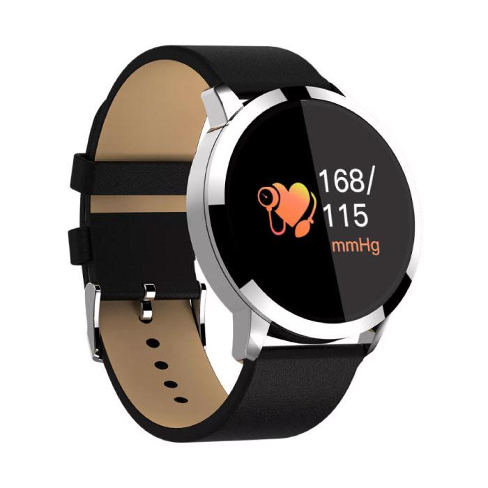 Q8 originale intelligente Band Fitness Sports Tracker Activité Smartwatch Regarder OLED Smartphone iOS iPhone Android Samsung Huawei Argent en cuir