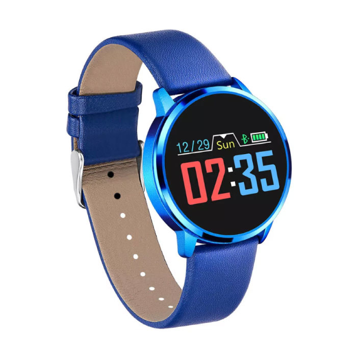 Q8 originale intelligente Band Fitness Sports Tracker Activité Smartwatch Regarder OLED Smartphone iOS iPhone Android Samsung Huawei en cuir bleu
