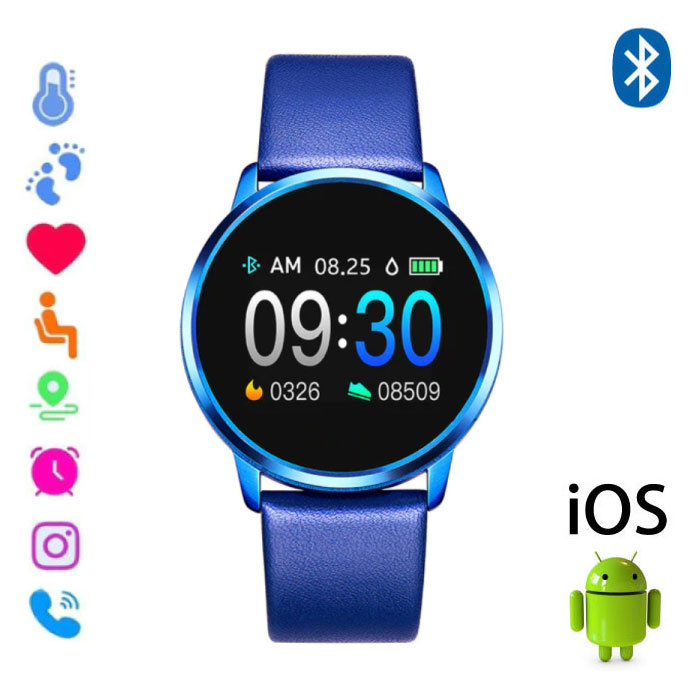 Original Q8 Smartband Fitness Sport Activity Tracker Smartwatch Smartphone Watch OLED iOS Android iPhone Samsung Huawei Blue Leather