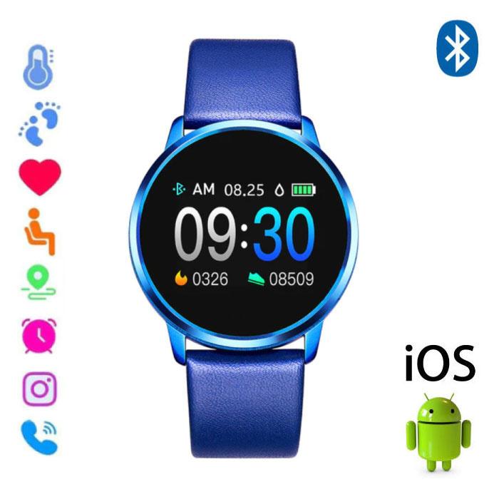 Originele Q8 Smartband Sport Smartwatch Smartphone Horloge OLED iOS Android Blauw Leer