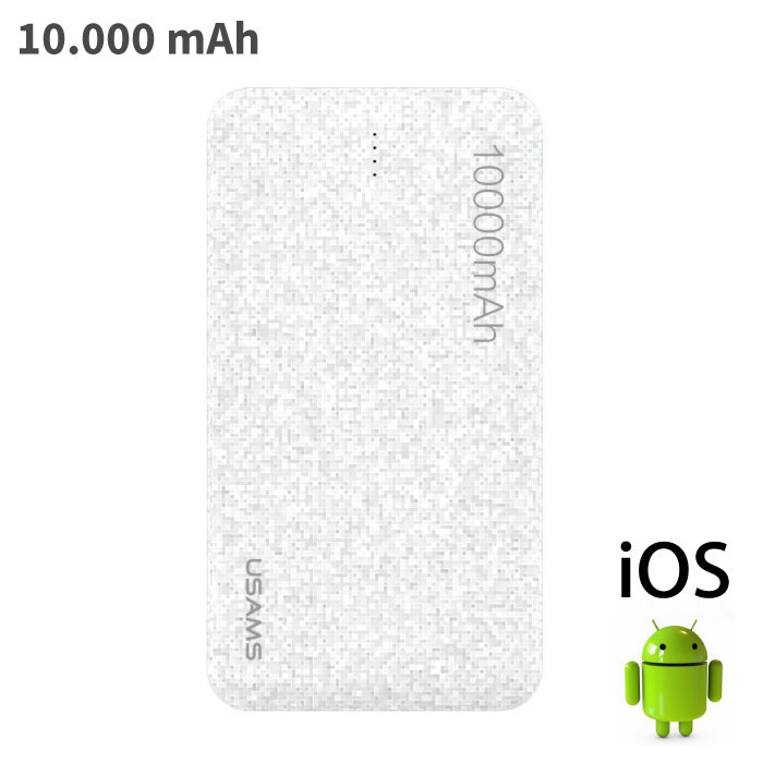 Mosaic Externe 10.000mAh Powerbank Noodaccu Oplader Charger Wit