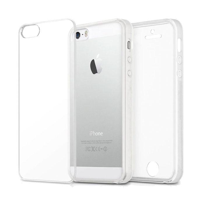 Coque en silicone TPU transparente 360 ° pour iPhone 5S + protecteur d'écran en PET