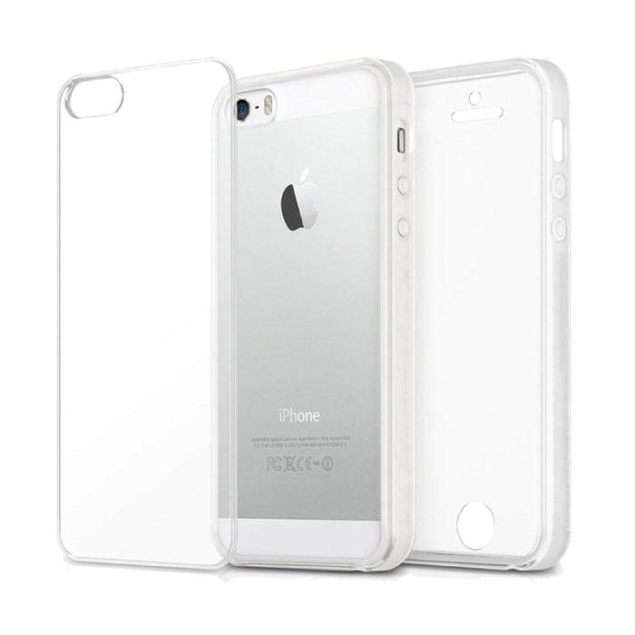 Stuff Certified® Coque en silicone TPU transparente 360 ° pour iPhone 5S + protecteur d'écran en PET