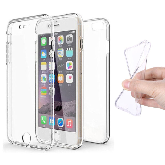 iPhone 6 Plus Full Body 360 ° Transparent TPU Silicone Case + PET Screen Protector