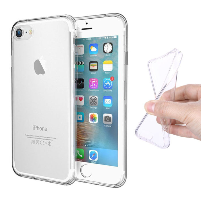 iPhone 8 Plus Full Body 360 ° Transparent TPU Silicone Case + PET Screen Protector