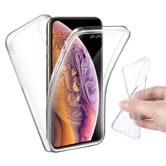 Coque en silicone TPU 360 ° transparente polycarbonate + protecteur d'écran PET pour iPhone XS