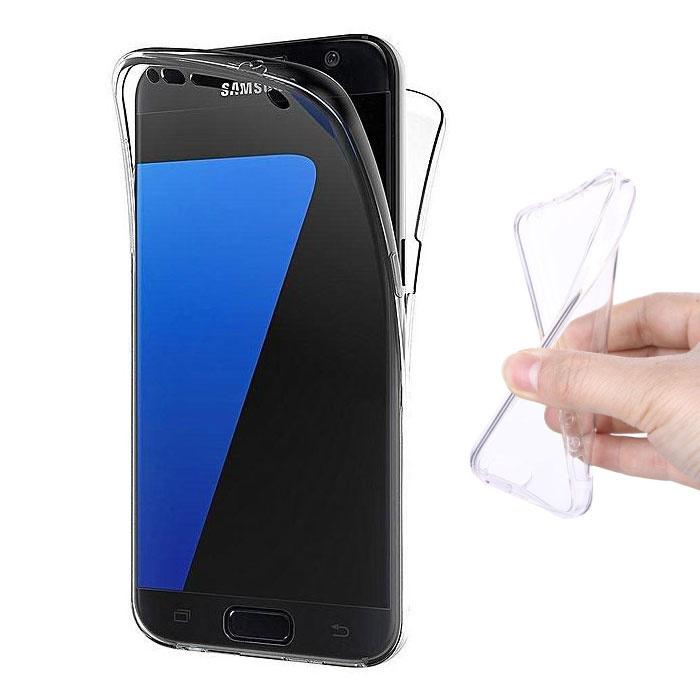 Samsung Galaxy S7 Edge Ganzkörper 360 ° Transparente TPU Silikonhülle + PET Displayschutzfolie