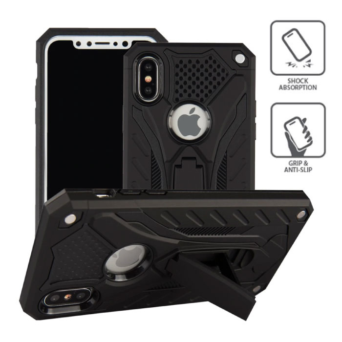 iPhone SE - Military Armor Case Cover Cas TPU Hoesje Zwart + Kickstand