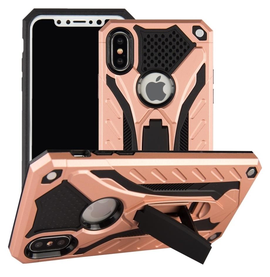 Stuff Certified ® iPhone SE - Etui blindé militaire Housse Cas en TPU noir + béquille