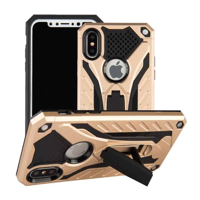 Stuff Certified ® iPhone 8 - Cas d'armure militaire Housse Cas TPU noir + béquille