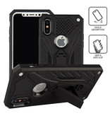 Stuff Certified ® iPhone X - Military Armor Case Cover Cas TPU Hoesje Zwart + Kickstand