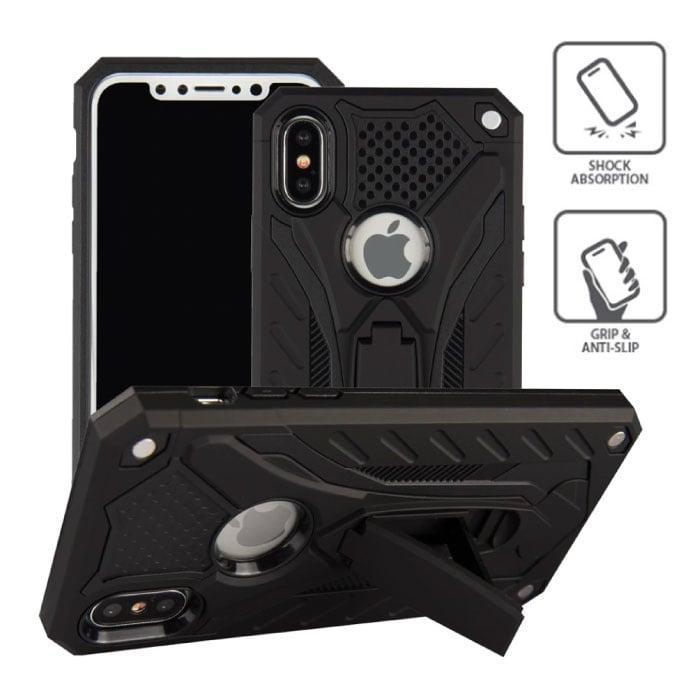 Stuff Certified ® iPhone X - Military Armor Case Cover Cas TPU Case Black + Kickstand