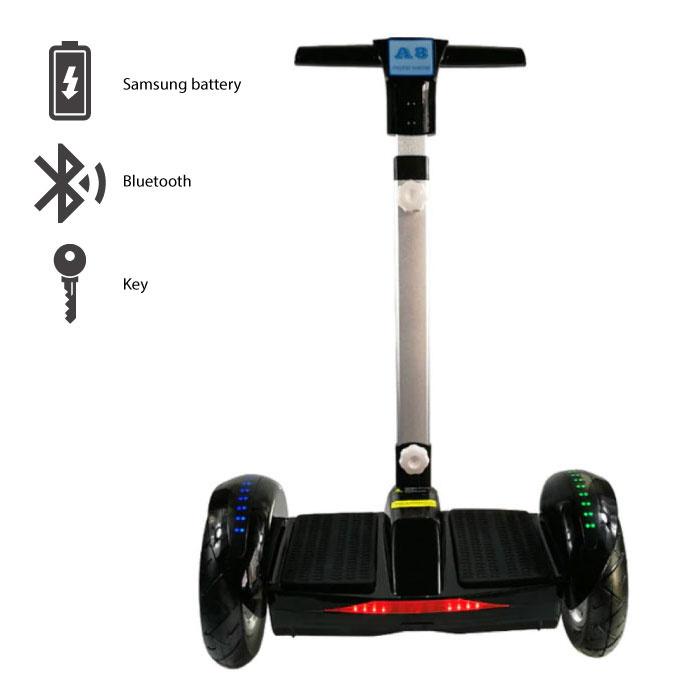 """Elektrisch E Scooter Hoverboard met Handvat - 10.5"""" - 350W - 4.4 Ah Samsung Batterij - Zwart"""