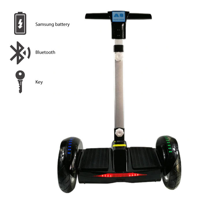 "FLJ Electric E Scooter Hoverboard with Handle - 10.5 ""- 350W - 4.4 Ah Samsung Battery - Black"