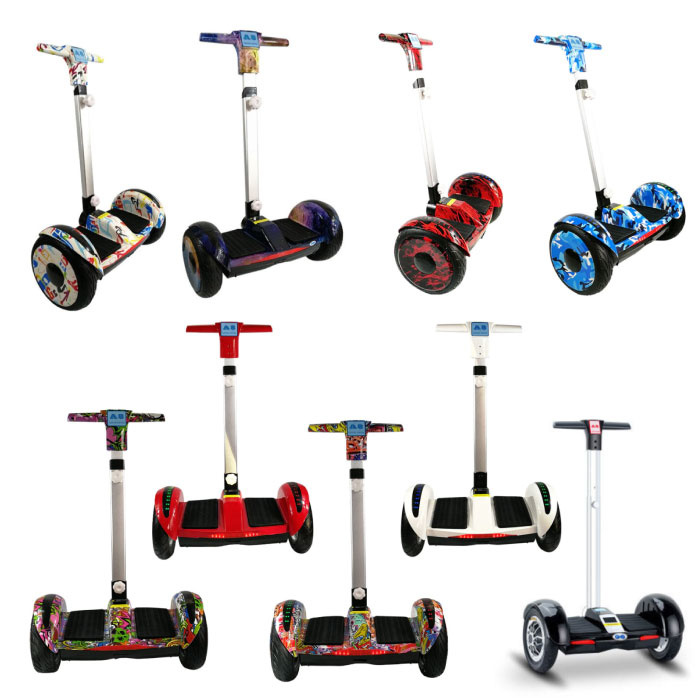 """FLJ Electric E Scooter Hoverboard with Handle - 10.5 """"- 350W - 4.4 Ah Samsung Battery - Black"""