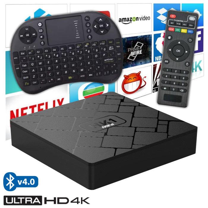 Stuff Certified ® Lecteur multimédia HK1 Mini 4K TV avec Android Kodi - 2 Go de RAM - Stockage de 16 Go + Clavier sans fil