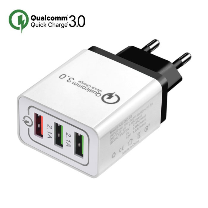 Qualcomm Quick Charge 3.0 Chargeur mural pour iPhone / Android à triple (3x) ports USB Wallcharger Noir
