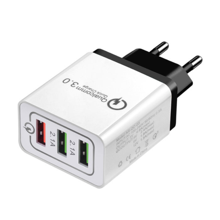 Qualcomm Quick Charge 3.0 Triple (3x) USB Port iPhone/Android Muur Oplader Wallcharger Zwart