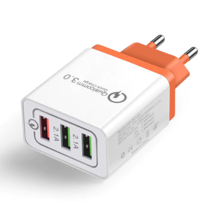 Stuff Certified ® Qualcomm Quick Charge 3.0 Triple (3x) USB Port iPhone / Android Wall Charger Wallcharger Orange