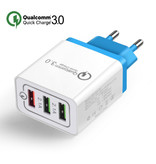 Stuff Certified ® Qualcomm Quick Charge 3.0 Triple (3x) USB Port iPhone/Android Muur Oplader Wallcharger Blauw