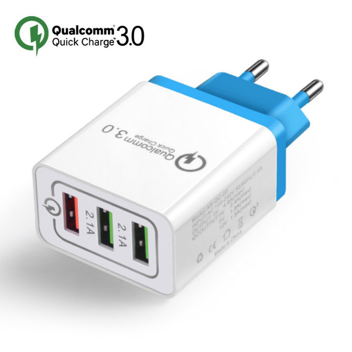 Qualcomm Chargeur mural pour chargeur mural iPhone / Android Charge rapide 3.0 triple (3x) port USB Blue
