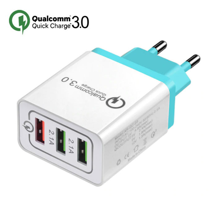 Stuff Certified ® Qualcomm Quick Charge 3.0 Triple (3x) USB Port iPhone/Android Muur Oplader Wallcharger Sky