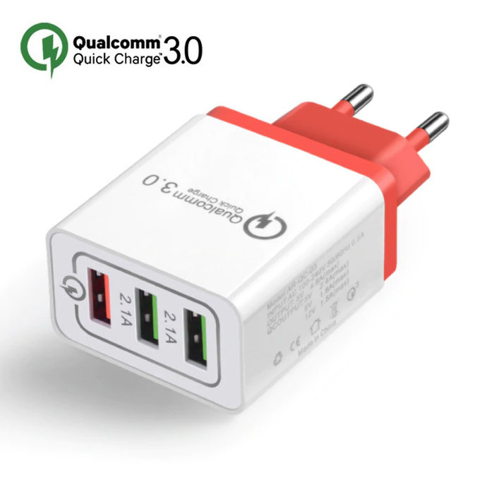 Qualcomm Quick Charge 3.0 Triple (3x) USB Port iPhone/Android Muur Oplader Wallcharger Rood