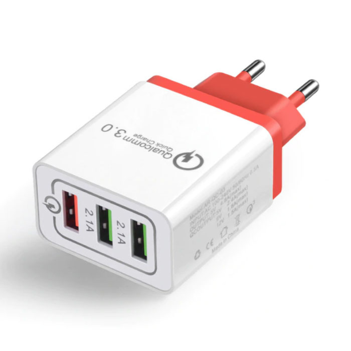 Qualcomm Quick Charge 3.0 Triple (3x) USB Port iPhone / Android Wall Charger Wallcharger Red