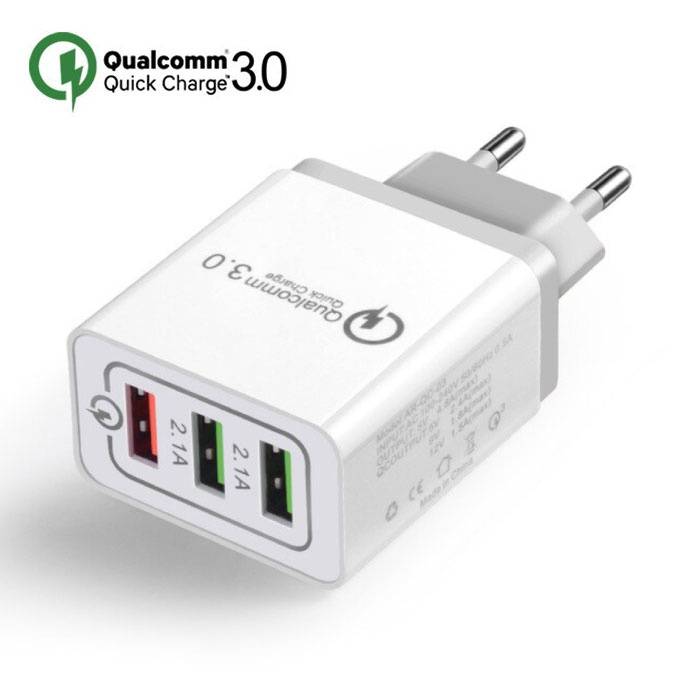 Stuff Certified® Qualcomm Quick Charge 3.0 Triple (3x) USB Port iPhone/Android Muur Oplader Wallcharger Grijs