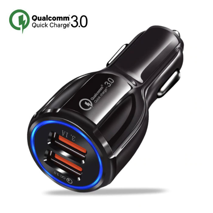 Qualcomm Quick Charge 3.0 Dual Port Autolader/Carcharger - Zwart
