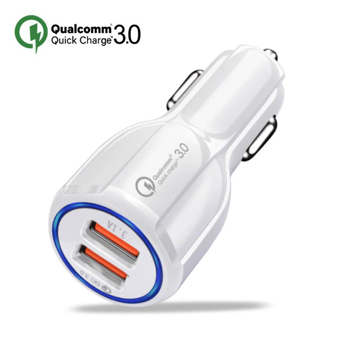 Qualcomm Quick Charge 3.0  Dual Port Autolader/Carcharger - Wit