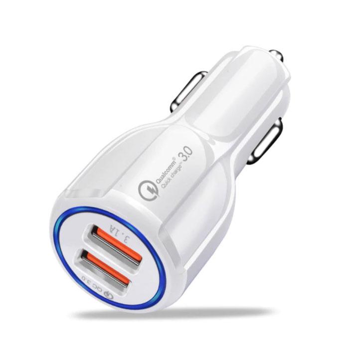 Qualcomm Charge rapide 3.0 Dual Port chargeur de voiture / Carcharger - Blanc