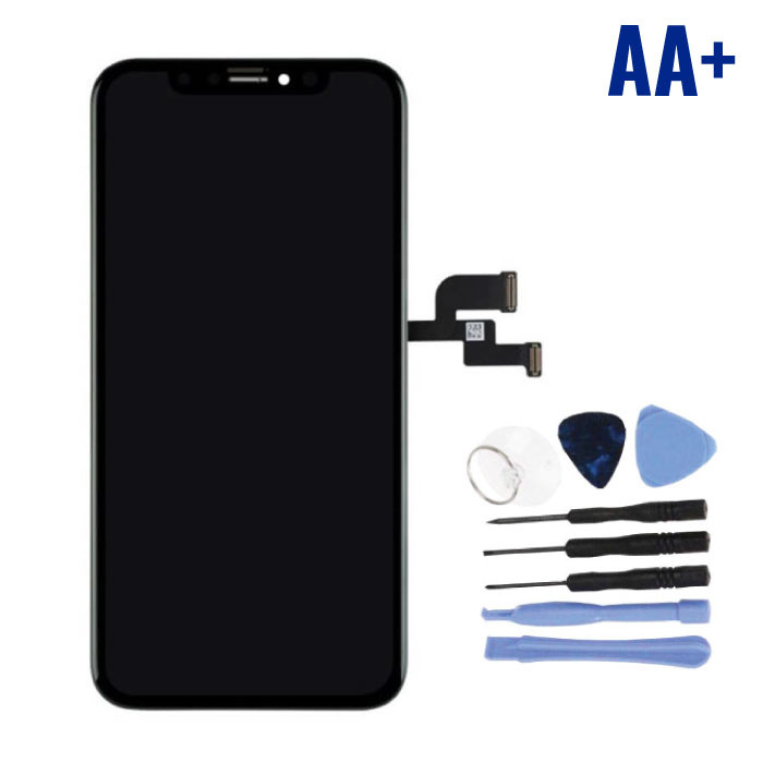iPhone XS Scherm (Touchscreen + OLED + Onderdelen) AA+ Kwaliteit - Zwart + Gereedschap